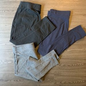 Lot of three large leggings, black, grey and blue